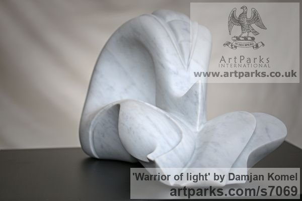 Carrara marble Modern Abstract Contemporary Avant Garde Sculptures or Statues or statuettes or statuary sculpture by sculptor Damjan Komel titled: 'Warrior of light (Contemporary abstract marble stone garden sculpture)' - Artwork View 4