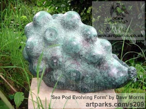 Bronze with stone base Abstract Contemporary Modern Outdoor Outside Garden / Yard sculpture statuary sculpture by sculptor Dave Morris titled: 'Sea Pod Evolving Form'