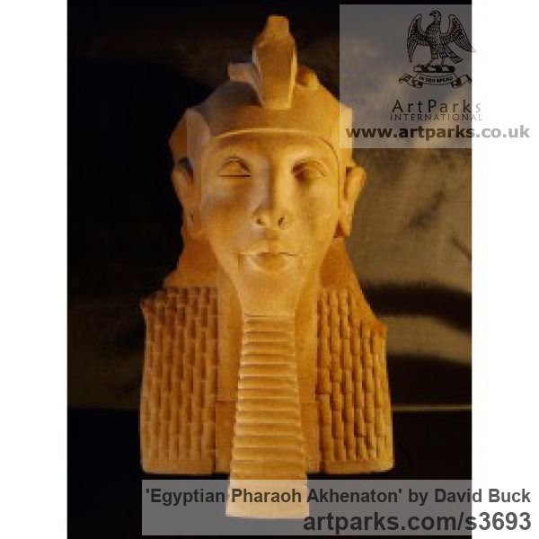 Reconstituted Sandstone Male Men Youths Masculine sculpturettes figurines sculpture by sculptor David Buck titled: 'Egyptian Pharaoh Akhenaton (Kings Bust 0r Head statue)'