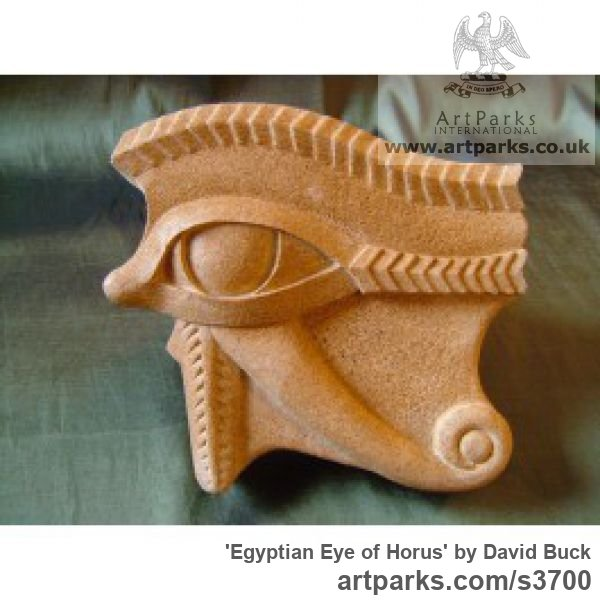 Reconstituted Sandstone Wall Mounted or Wall Hanging sculpture by sculptor David Buck titled: 'Egyptian Eye of Horus (Wall Mounted Bas Reliefs statues)'