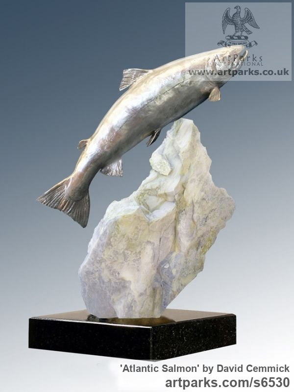 Stainless Steel & Marble Field Sports, Game Birds and Game Animals sculpture by sculptor David Cemmick titled: 'Atlantic Salmon (stainless Steel Leaping life size Salmon garden/Yard)'