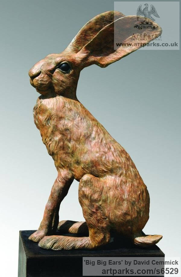 Bronze Wild Animals and Wild Life sculpture by sculptor David Cemmick titled: 'Big Big Ears (Outsize Outdoors Sitting Alert March Bronze Hare statue)'