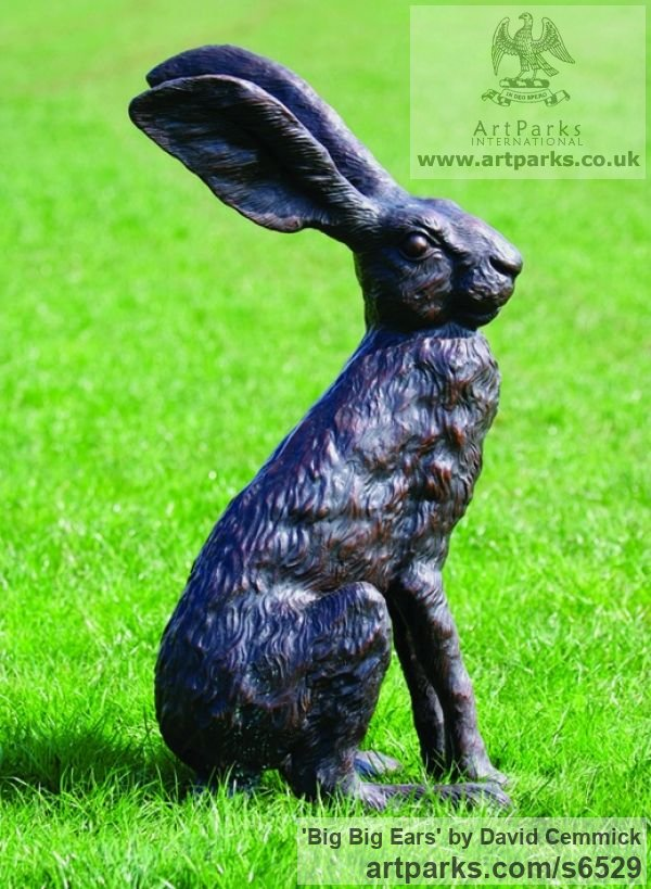 Bronze Wild Animals and Wild Life sculpture by sculptor David Cemmick titled: 'Big Big Ears (Outsize Outdoors Sitting Alert March Bronze Hare statue)' - Artwork View 2