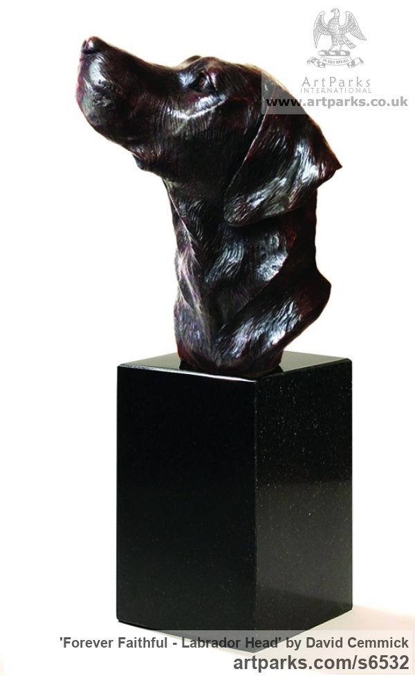 Bronze Dogs sculpture by sculptor David Cemmick titled: 'Forever Faithful - Labrador Head (Portrait bronze Pet Dog Bust statues)'