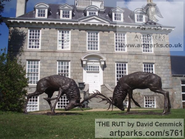 Bronze Deer sculpture by sculptor David Cemmick titled: 'THE RUT (Bronze Metal life size Stag Pair sculptures)'