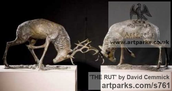 Bronze Deer sculpture by sculptor David Cemmick titled: 'THE RUT (Bronze Metal life size Stag Pair sculptures)' - Artwork View 2