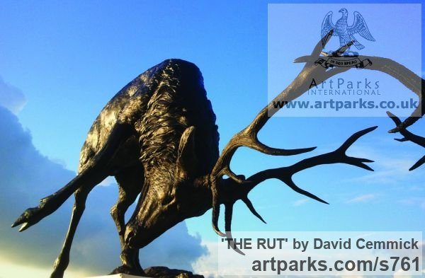 Bronze Deer sculpture by sculptor David Cemmick titled: 'THE RUT (Bronze Metal life size Stag Pair sculptures)' - Artwork View 3