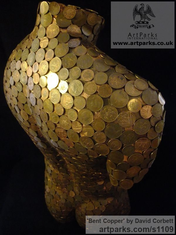 Copper coins and fibreglass Garden Or Yard / Outside and Outdoor sculpture by sculptor David Corbett titled: 'Bent Copper (nude Male Torso Chest Copper Coins sculpture)' - Artwork View 3