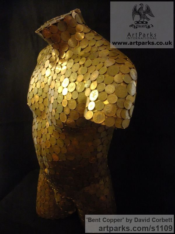 Copper coins and fibreglass Garden Or Yard / Outside and Outdoor sculpture by sculptor David Corbett titled: 'Bent Copper (nude Male Torso Chest Copper Coins sculpture)' - Artwork View 5