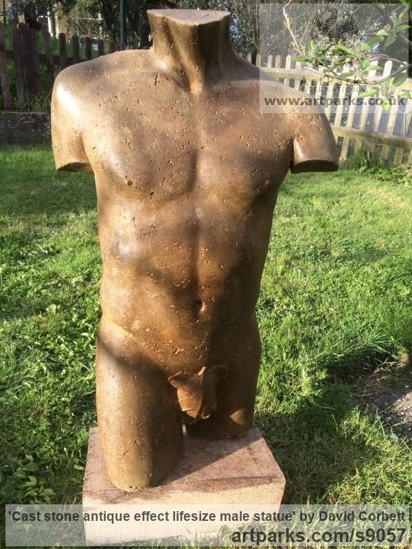 Composite stone Male Men Youths Masculine sculpturettes figurines sculpture by sculptor David Corbett titled: 'Cast stone antique effect lifesize male statue' - Artwork View 3