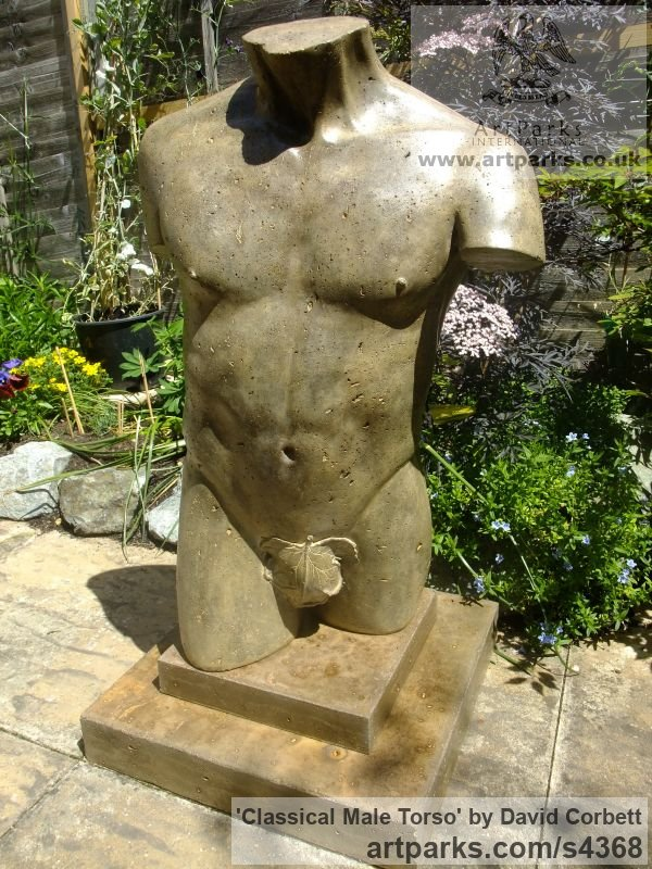 Stained and Polished Concrete Garden Or Yard / Outside and Outdoor sculpture by sculptor David Corbett titled: 'Classical Male Torso (life size Man`s Chest garden sculpture)'
