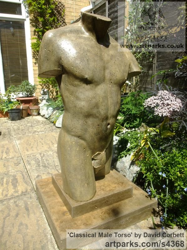 Stained and Polished Concrete Garden Or Yard / Outside and Outdoor sculpture by sculptor David Corbett titled: 'Classical Male Torso (life size Man`s Chest garden sculpture)' - Artwork View 2