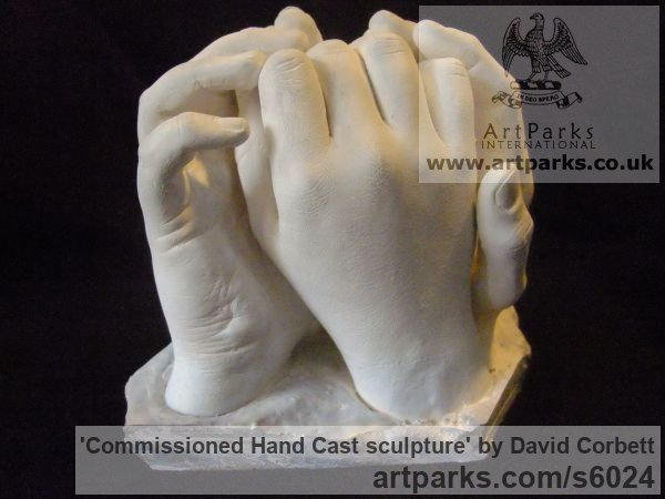 Plaster Peace Sculptures or Statues or statuettes sculpture by sculptor David Corbett titled: 'Commissioned Hand Cast sculpture (Indoor Plaster Togetherness statuette)'