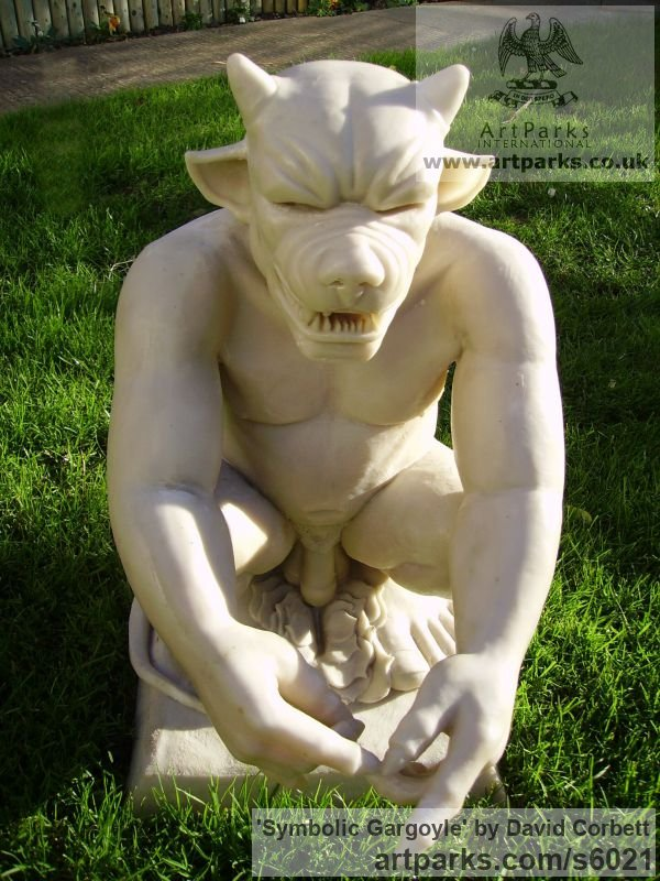 Bronze Garden Or Yard / Outside and Outdoor sculpture by sculptor David Corbett titled: 'Symbolic Gargoyle (Horned nude Male garden sculptures)' - Artwork View 2