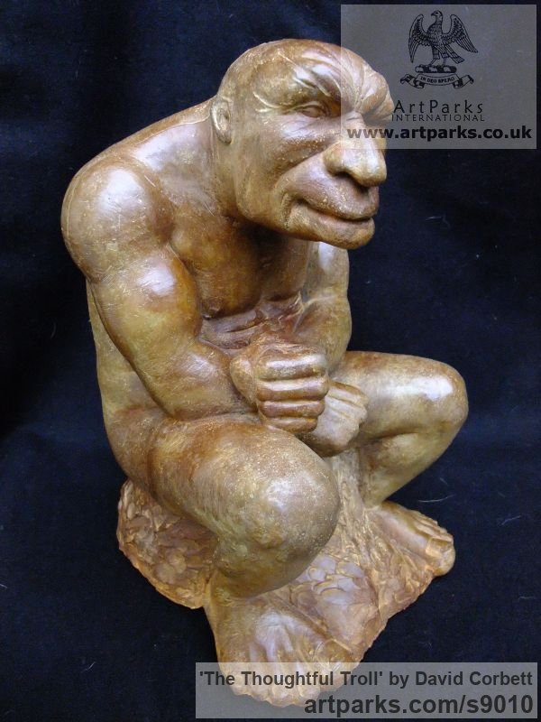 Composite stone Fantasy sculpture or sculpture by sculptor David Corbett titled: 'The Thoughtful Troll' - Artwork View 1