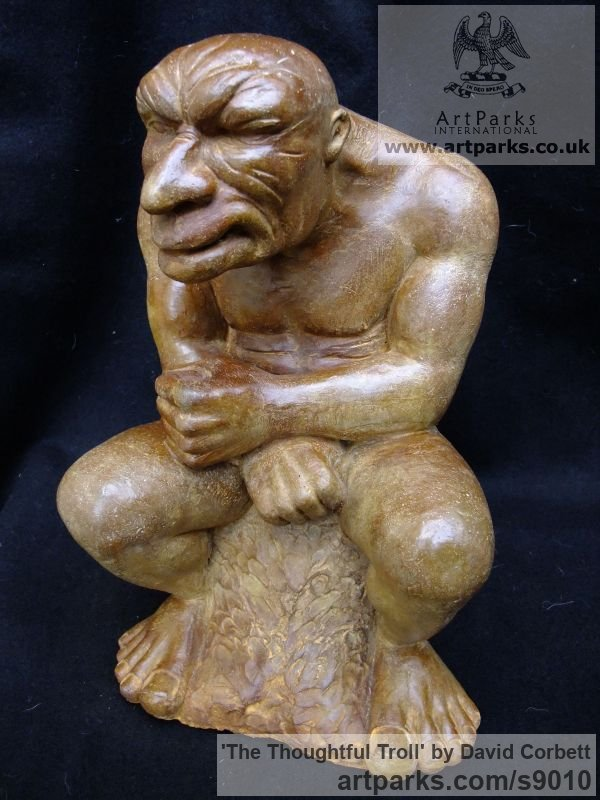 Composite stone Fantasy sculpture or sculpture by sculptor David Corbett titled: 'The Thoughtful Troll' - Artwork View 2