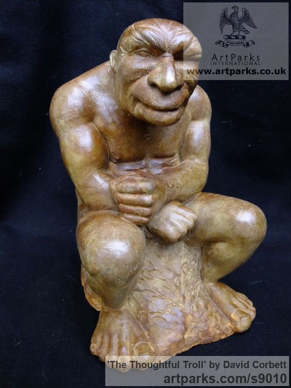 Composite stone Fantasy sculpture or sculpture by sculptor David Corbett titled: 'The Thoughtful Troll' - Artwork View 4