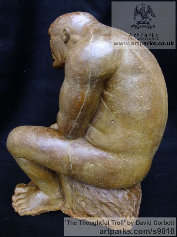 Composite stone Fantasy sculpture or sculpture by sculptor David Corbett titled: 'The Thoughtful Troll' - Artwork View 5