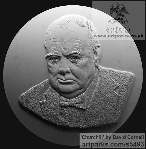 Wall Mounted or Wall Hanging sculpture by sculptor David Cornell titled: 'Churchill' - Artwork View 2