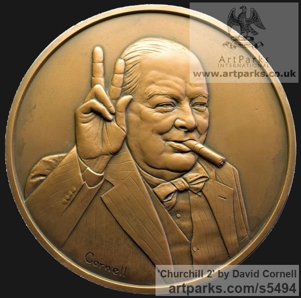 Wall Mounted or Wall Hanging sculpture by sculptor David Cornell titled: 'Churchill 2' - Artwork View 2