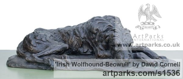BRONZE Dogs sculpture by sculptor David Cornell titled: 'IRISH WOLFHOUND-BEOWULF' - Artwork View 3