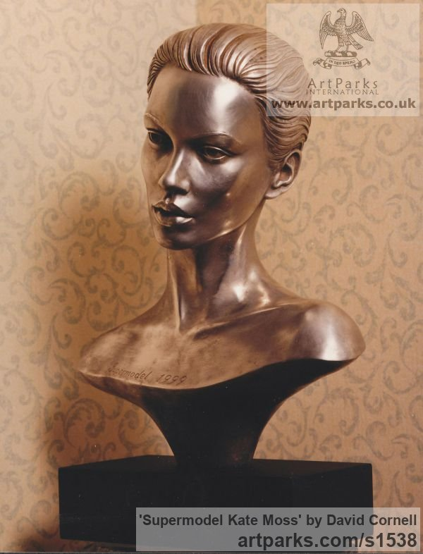RESIN Portrait Sculptures / Commission or Bespoke or Customised sculpture by sculptor David Cornell titled: 'Supermodel Kate Moss (sculpture Bust/Head statue)' - Artwork View 2