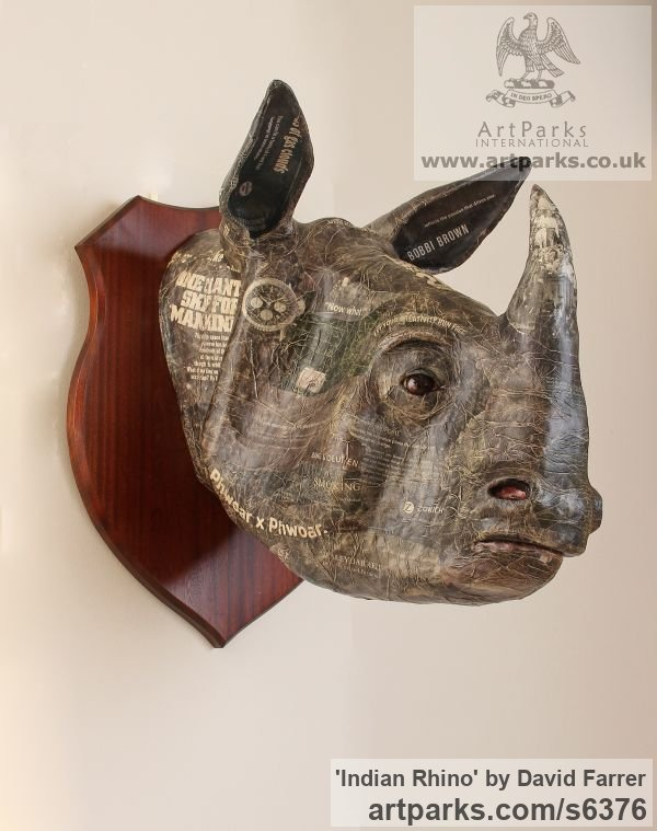 Papier Mache Wild Animals and Wild Life sculpture by sculptor David Farrer titled: 'Indian Rhino (Wall Trophy Papier Mache Mask statue)' - Artwork View 1
