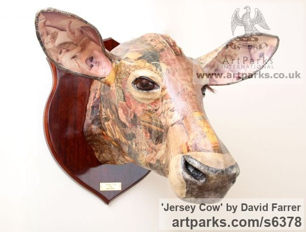 Papier Mache Farm Yard sculpture by sculptor David Farrer titled: 'Jersey Cow (Papier Mache Cattle Head Wall sculptures)'