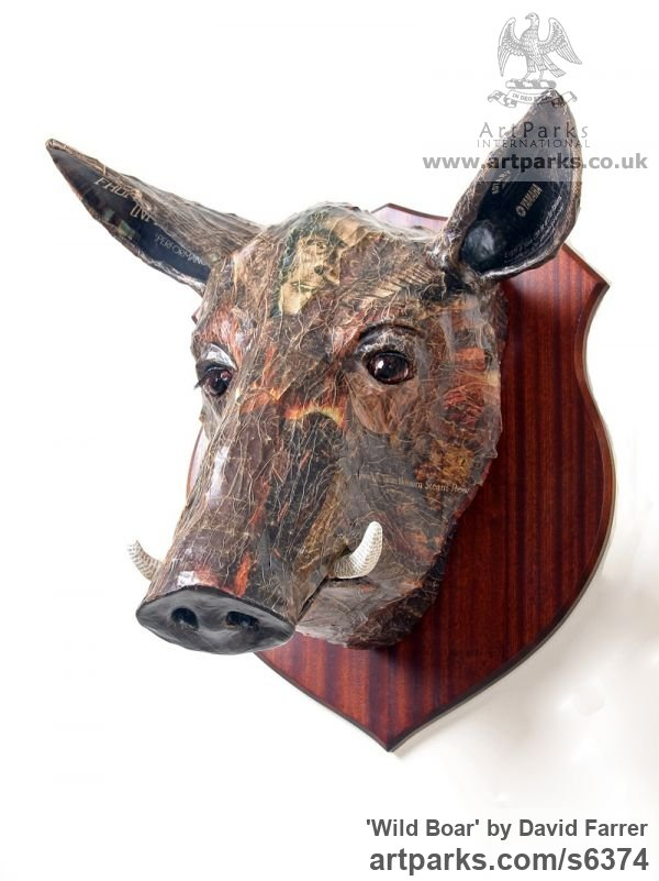 Papier Mache Wall Mounted or Wall Hanging sculpture by sculptor David Farrer titled: 'Wild Boar (Wall Mounted Trophy Head Amusing sculpture)'