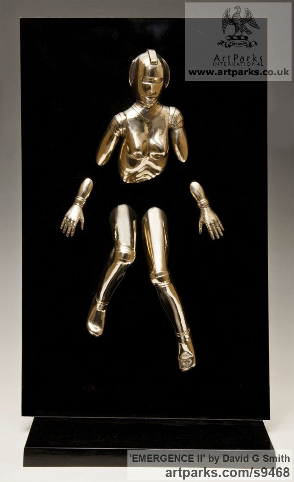 Bronze and acrylic Fantasy sculpture or sculpture by sculptor David G Smith titled: 'EMERGENCE II (Little Bronze nude Robot Wall statuette)'