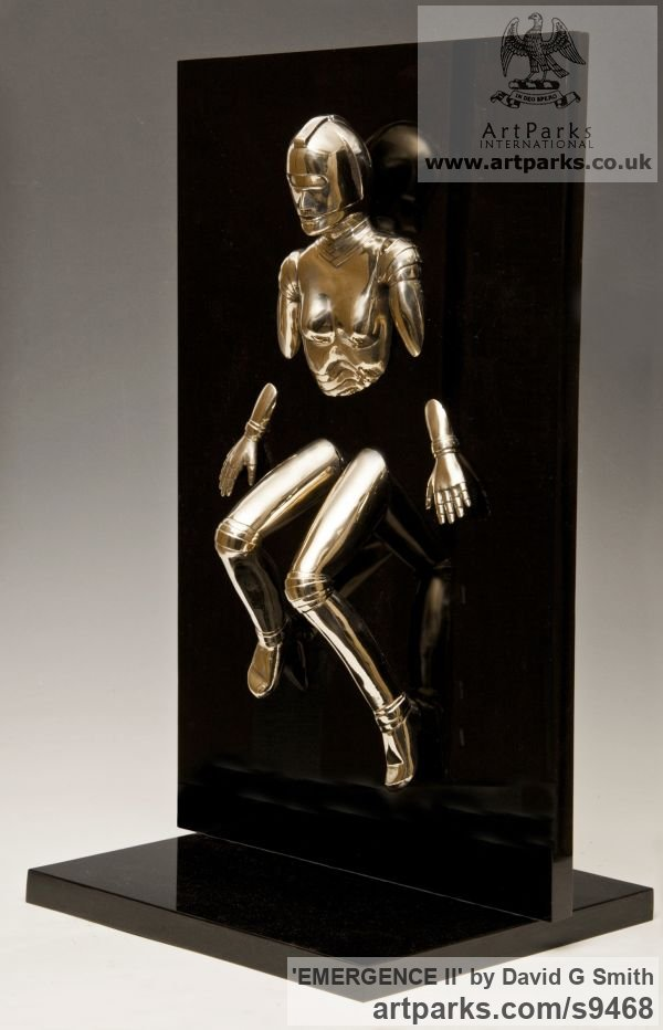 Bronze and acrylic Fantasy sculpture or sculpture by sculptor David G Smith titled: 'EMERGENCE II (Little Bronze nude Robot Wall statuette)' - Artwork View 2