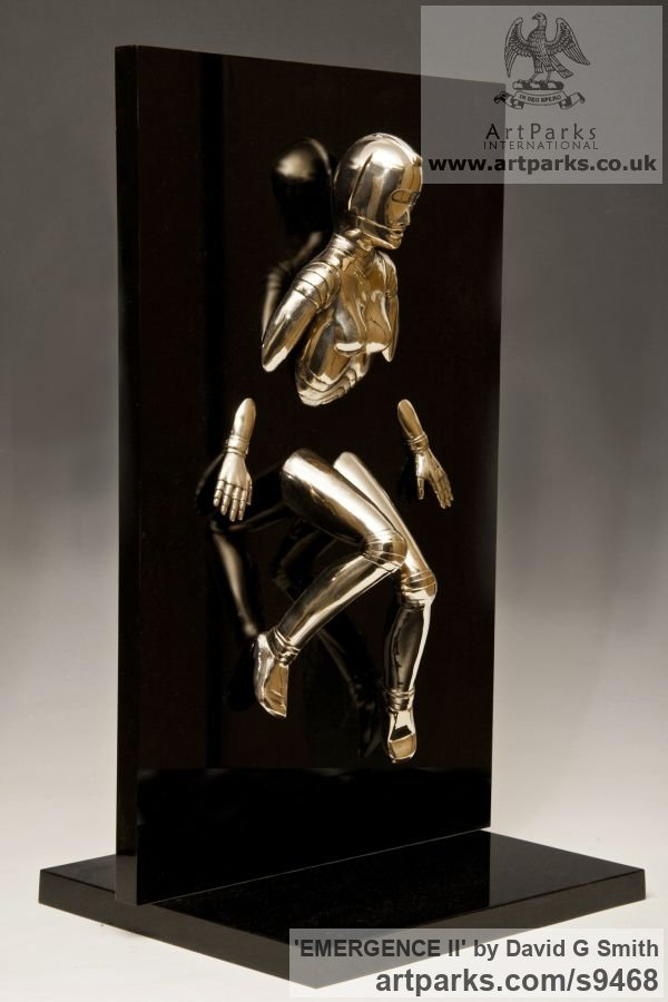 Bronze and acrylic Fantasy sculpture or sculpture by sculptor David G Smith titled: 'EMERGENCE II (Little Bronze nude Robot Wall statuette)' - Artwork View 3