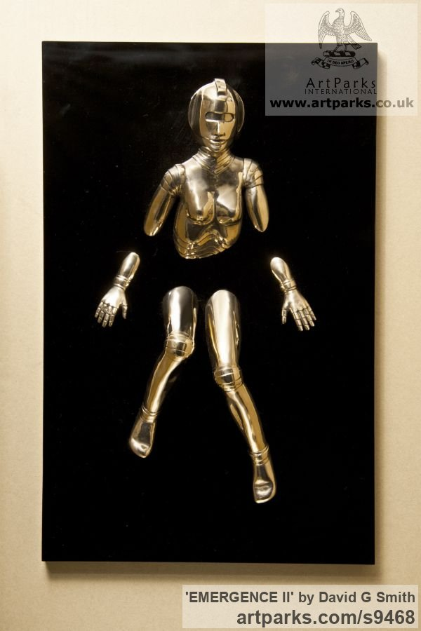 Bronze and acrylic Fantasy sculpture or sculpture by sculptor David G Smith titled: 'EMERGENCE II (Little Bronze nude Robot Wall statuette)' - Artwork View 4