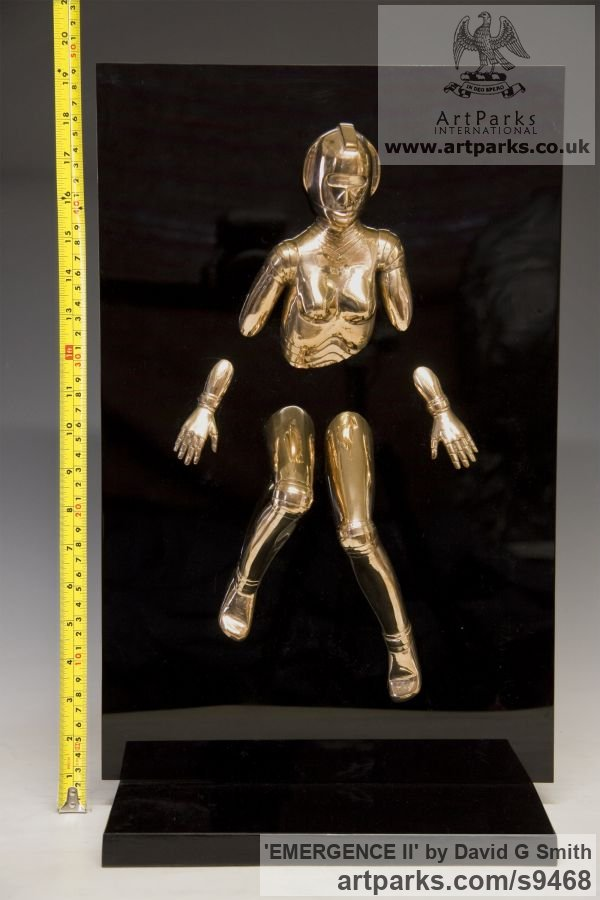 Bronze and acrylic Fantasy sculpture or sculpture by sculptor David G Smith titled: 'EMERGENCE II (Little Bronze nude Robot Wall statuette)' - Artwork View 5