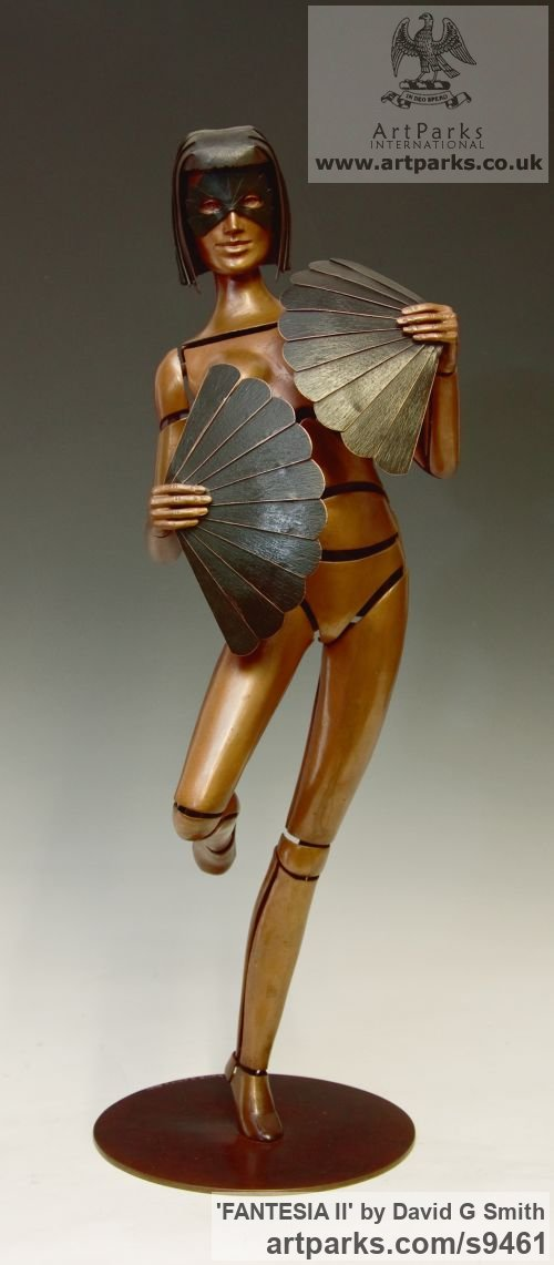 Bronze Spirit of Dance Abstract Contemporary Modern sculpture by sculptor David G Smith titled: 'FANTESIA II (Contemporary nude Fan Dancer statues)'