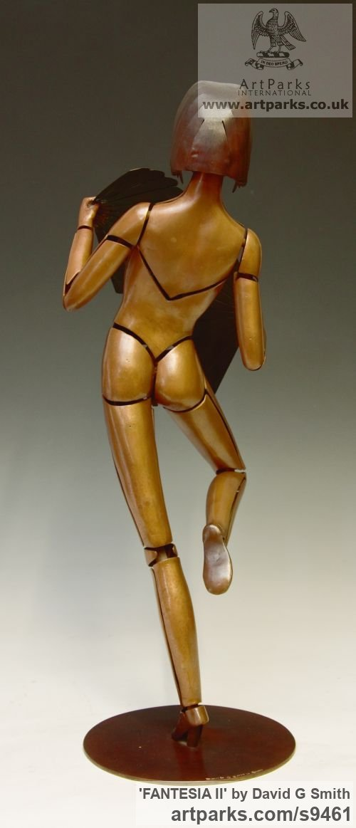 Bronze Spirit of Dance Abstract Contemporary Modern sculpture by sculptor David G Smith titled: 'FANTESIA II (Contemporary nude Fan Dancer statues)' - Artwork View 2