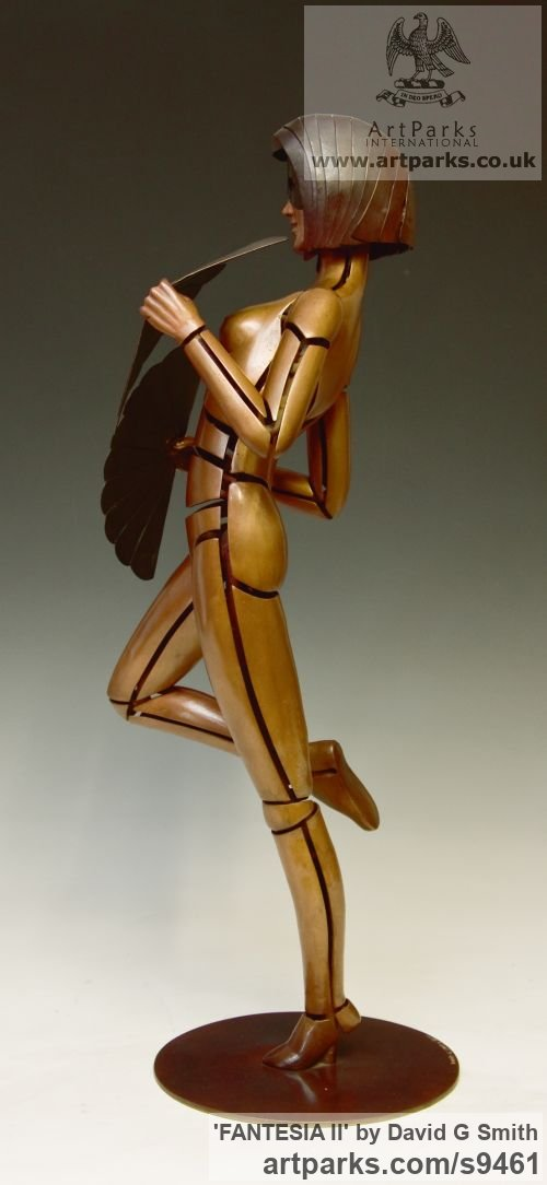 Bronze Spirit of Dance Abstract Contemporary Modern sculpture by sculptor David G Smith titled: 'FANTESIA II (Contemporary nude Fan Dancer statues)' - Artwork View 3