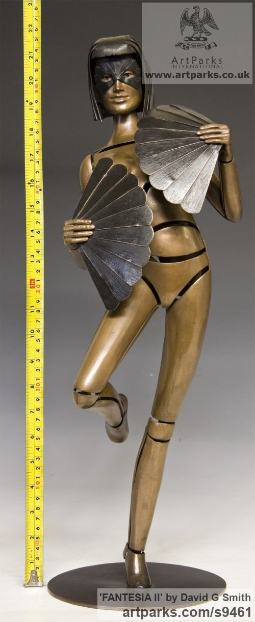 Bronze Spirit of Dance Abstract Contemporary Modern sculpture by sculptor David G Smith titled: 'FANTESIA II (Contemporary nude Fan Dancer statues)' - Artwork View 5