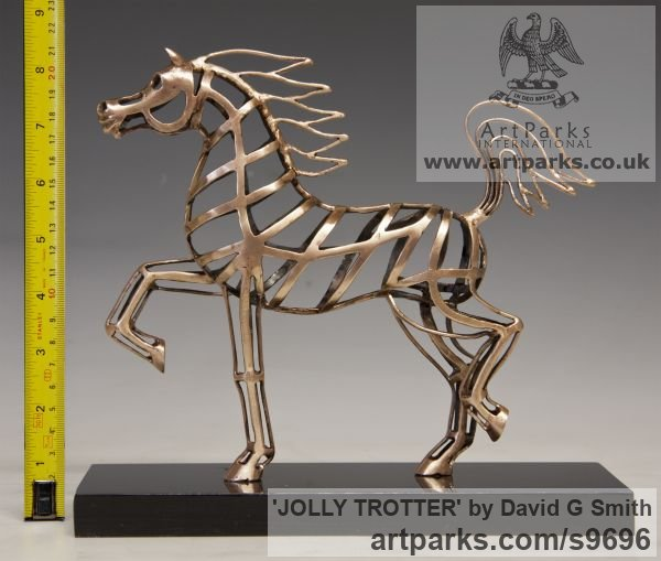 Bronze Horses Abstract / Semi Abstract / Stylised / Contemporary / Modern sculpturettes sculpture by sculptor David G Smith titled: 'JOLLY TROTTER (Contemporary Little Arab sculptures)'
