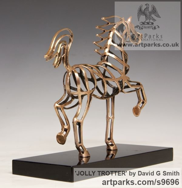 Bronze Horses Abstract / Semi Abstract / Stylised / Contemporary / Modern sculpturettes sculpture by sculptor David G Smith titled: 'JOLLY TROTTER (Contemporary Little Arab sculptures)' - Artwork View 5
