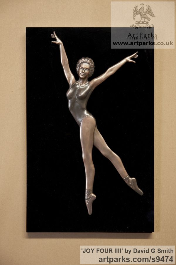 Bronze and acrylic Wall Mounted or Wall Hanging sculpture by sculptor David G Smith titled: 'JOY FOUR (Small Low Relief Ballerina Wall statuette)'