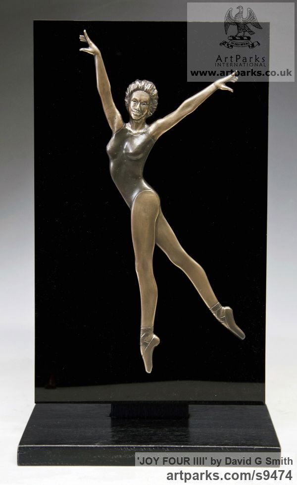 Bronze and acrylic Wall Mounted or Wall Hanging sculpture by sculptor David G Smith titled: 'JOY FOUR (Small Low Relief Ballerina Wall statuette)' - Artwork View 2
