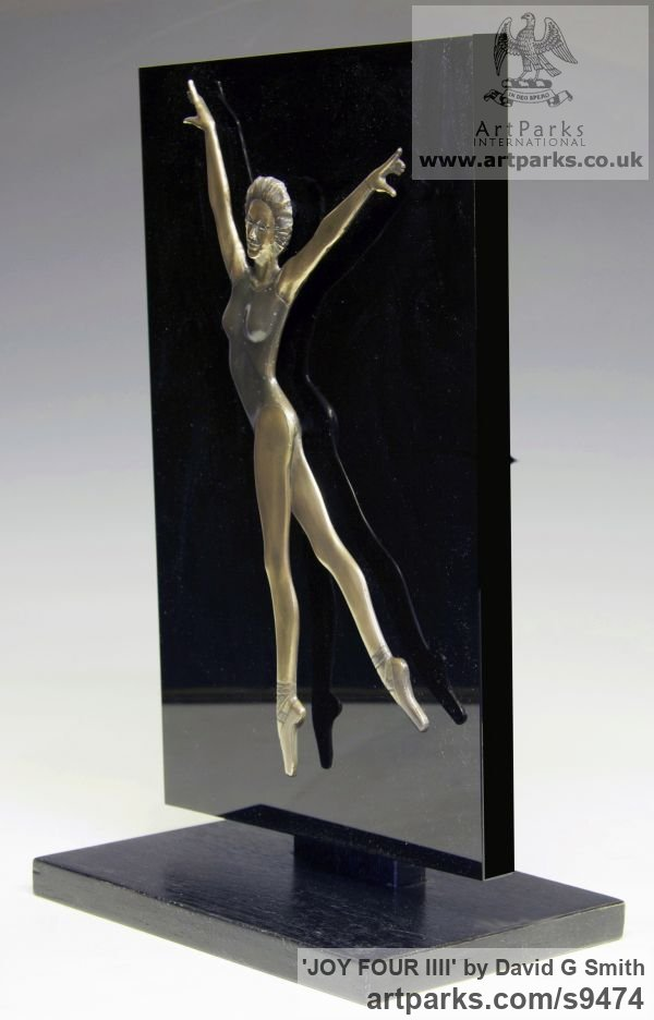 Bronze and acrylic Wall Mounted or Wall Hanging sculpture by sculptor David G Smith titled: 'JOY FOUR (Small Low Relief Ballerina Wall statuette)' - Artwork View 3