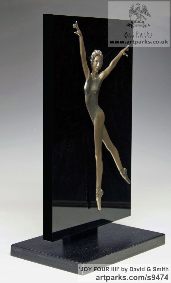 Bronze and acrylic Wall Mounted or Wall Hanging sculpture by sculptor David G Smith titled: 'JOY FOUR (Small Low Relief Ballerina Wall statuette)' - Artwork View 4