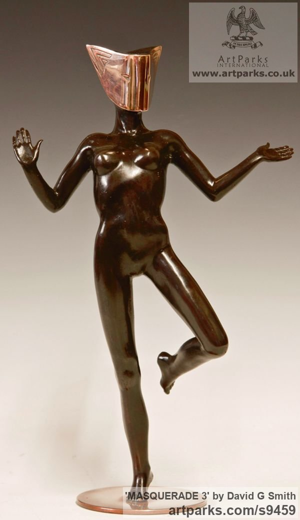 Bronze Spirit of Dance Abstract Contemporary Modern sculpture by sculptor David G Smith titled: 'MASQUERADE 3 (nude Masked Sensual Girl Dancer statue)'