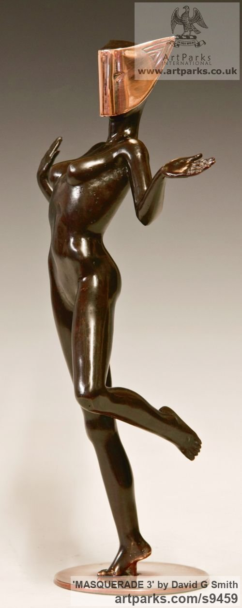 Bronze Spirit of Dance Abstract Contemporary Modern sculpture by sculptor David G Smith titled: 'MASQUERADE 3 (nude Masked Sensual Girl Dancer statue)' - Artwork View 3
