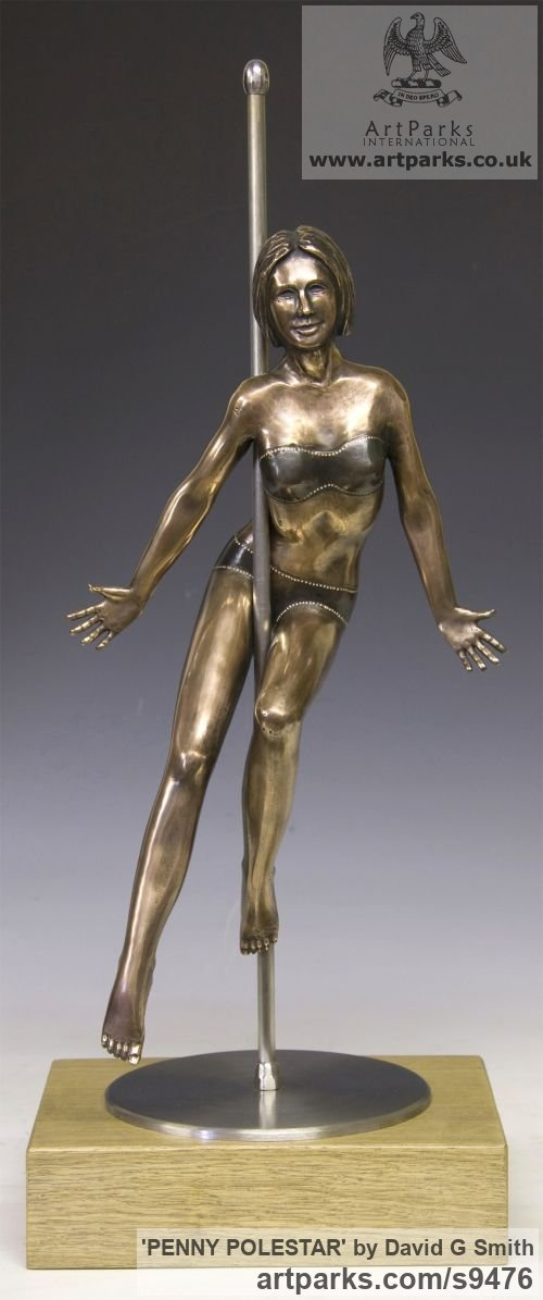 Bronze, Stainless Steel, Oak. Spirit of Dance Abstract Contemporary Modern sculpture by sculptor David G Smith titled: 'PENNY POLESTAR (Pole DancerPoised Sexy Assured statue)'