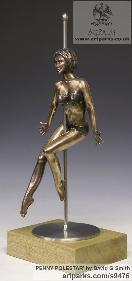 Bronze, Stainless Steel, Oak. Spirit of Dance Abstract Contemporary Modern sculpture by sculptor David G Smith titled: 'PENNY POLESTAR (Pole DancerPoised Sexy Assured statue)' - Artwork View 3