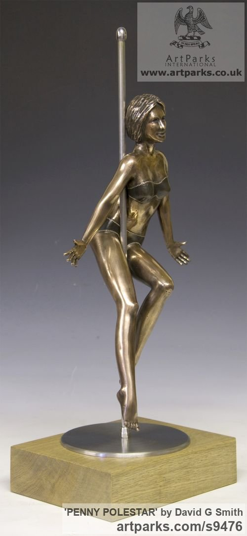 Bronze, Stainless Steel, Oak. Spirit of Dance Abstract Contemporary Modern sculpture by sculptor David G Smith titled: 'PENNY POLESTAR (Pole DancerPoised Sexy Assured statue)' - Artwork View 4