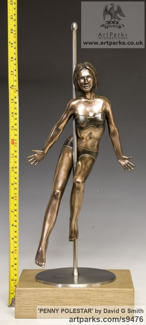 Bronze, Stainless Steel, Oak. Spirit of Dance Abstract Contemporary Modern sculpture by sculptor David G Smith titled: 'PENNY POLESTAR (Pole DancerPoised Sexy Assured statue)' - Artwork View 5
